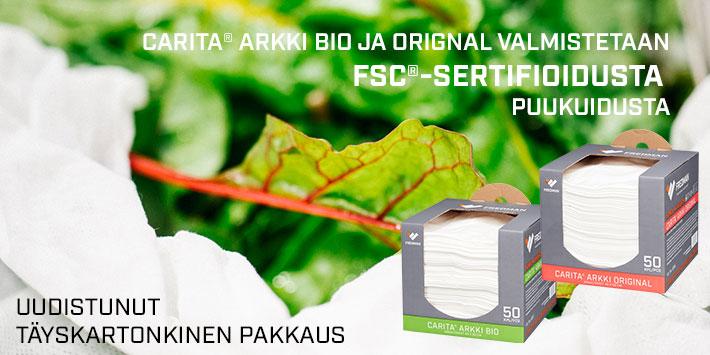 Carita Arkki FSC ja uudistunut pakkaus